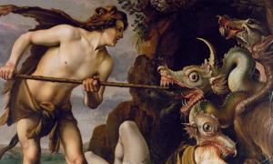 """Cadmus Slays the Dragon"" by Hendrik Goltzius. The Greek myth of Cadmus fighting the serpent may be an allegory for the discovery of the Amazon River. In various accounts, the snake is instead referred to as a dragon or serpent."