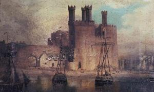 Oil painting of Caernarfon Castle in 1846 by Hugh Hughes, from the National Library of Wales. Photo source: Public domain.