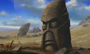 Stylized artists impression of Easter Island.