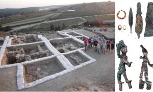 Left: Archaeologists at the Canaanite temple excavation site in Lachish, Israel. Source: The Fourth Expedition To Lachish / Southern Adventist University. Right: (top) Two tiny figurines depicting 'smiting gods' (could be Baal and Resheph) that were found by the altar of the temple and (bottom) weapons and jewelry found at the site. Source: Tal Rogovski / Hebrew University of Jerusalem