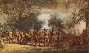 Cannibal feast on the Island of Tanna, New Hebrides by Charles E. Gordon Frazer (1863-1899).
