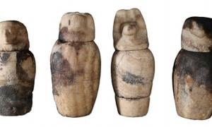 The conventional find of four canopic jars were buried at tomb TT391.