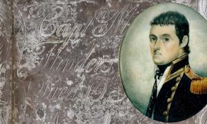 Detail of the breastplate from Captain Matthew Flinders' grave. (HS2) Insert: Watercolour miniature portrait of British navigator Matthew Flinders, dated about 1800.