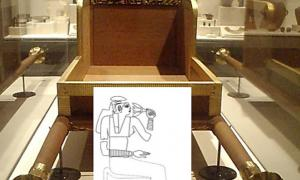 Carrying chair from the funerary furniture of Queen Hetepheres I. Thought to be a gift from her son, Khufu. Reconstruction of original on display in Cairo, this copy residing in the Museum of Fine Arts, Boston.