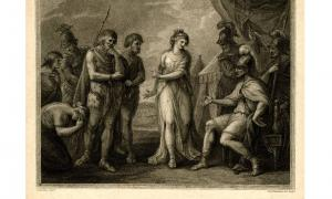 A print, entitled 'Caractacus, King of the Silures, delivered up to Ostorius, the Roman General, by Cartismandua, Queen of the Brigantes'