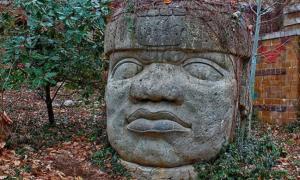 Famous stone head of the Olmec civilization.