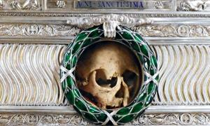 Silver reliquary with skull purportedly Saint Agnes' - Santa Agnese in Agone Church at Piazza Navona in Rome.