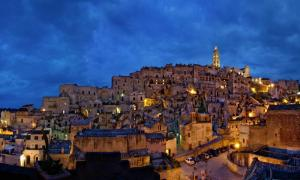 Matera, Basilicata, Italy. The Sasso Barisano looking east.