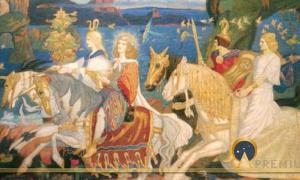"The Tuatha Dé Danann as depicted in John Duncan's ""Riders of the Sidhe"" (1911) (Public Domain)"