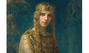 """Isolde"" (1911) by Gaston Bussiere. Isolde, an Irish princess, and her lover Tristan are the principal characters of a famous medieval romance story that was based on a Celtic legend."