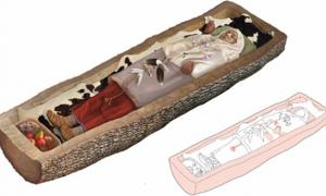 Reconstruction of the Celtic woman's burial in a tree. Source: Zurich archaeology department