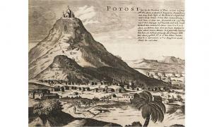 Cerro Rico de Potosí as depicted in 1715, a possible origin of the Sierra de la Plata myth.
