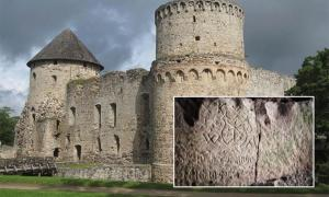 Main: Cēsis Castle in Latvia (CC by SA 3.0). Inset: Inscription found at Cēsis Castle. Inset: Alens Opolskis