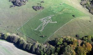 Cerne Abbas Giant chalk figure, in Dorset, England is now believed to be less than 350 years old!       Source: PeteHarlow / CC BY-SA 3.0