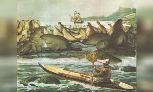 llustration of an Aleut paddling a baidarka, with an anchored Russian ship in the background, near Saint Paul Island, by Louis Choris, 1817. The Chaluka site was inhabited by ancient Aleut people. Source: Public Domain