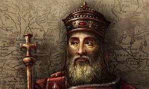 A depiction of Charlemagne.