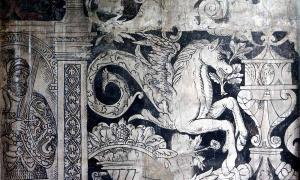 Part of a Tudor wall painting inside the Charterhouse priory, Coventry, England. Source: Charterhouse Coventry