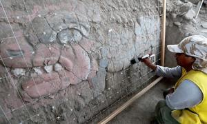 Frieze discovered at the atrium of the Main Pyramid Huaca Garagay site.