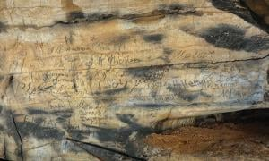 Cherokee inscriptions found in Manitou Cave, Alabama.