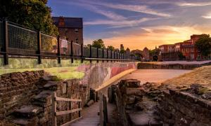Sunset view of the Roman Amphitheater in Chester, England 	Source: Adrian / Adobe Stock