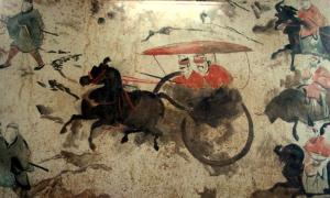 A section of a Chinese Eastern Han Dynasty (25–220 AD) fresco of 9 chariots, 50 horses, and over 70 men, from a tomb in Luoyang, China, which was once the capital of the Eastern Han.