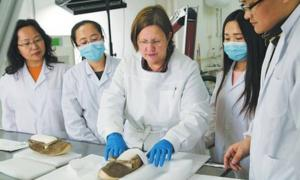 A Chinese archeological research institute working with the help of German experts will restore a pair of 1,400-year-old leather shoes from the Astana Tombs.