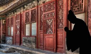 Shadow of a eunuch in the Forbidden City of China