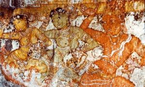 Chola Fresco of dancing girls. Brihadisvara Temple