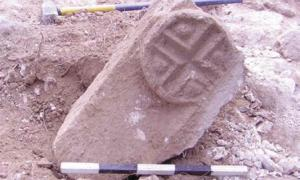 This lintel engraved with a cross was found during excavations at a Christian town in Galilee. Source: G. Cinamon & Y. Lerer