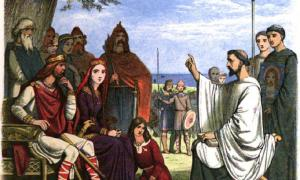 St Augustine of Canterbury preaches to Aethelberht of Kent during Christianization of Anglo-Saxon England Photo source: James William Edmund Doyle / Public domain