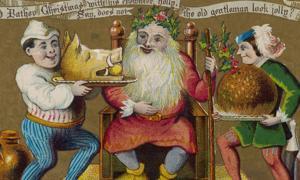 Father Christmas enjoying the Christmas feast tradition.