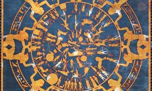 A Dendera Zodiac with added blue and gold color, Neues Museum, Berlin