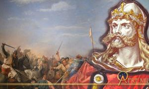 Stained Glass of King Harald (Colin Smith/CC BY-SA 2.0) and Battle of Stamford Bridge by Peter Nicolai Arbo