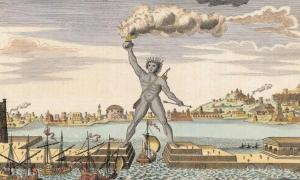 Engraving of the Colossus of Rhodes.
