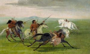Comanche Feats of Horsemanship (1834-1835) by George Catlin.