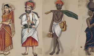 Images from the manuscript 'Seventy-Two Specimens of Castes in India.