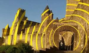 Felice Varini artwork on Carcassonne Citadel, France.