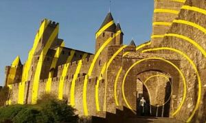 Felice Varini artwork on Carcassonne Citadel, France.