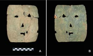Front and back view of the 3,000 year old mask.