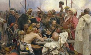 """""""Zaporozhian Cossacks write to the Sultan of Turkey"""" by Ilya Repin (1844–1930)"""