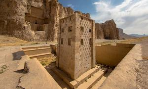 The Cube of Zoroaster at Naqsh-e Rustam - an ancient necropolis located in Fars Province, Iran, with a group of ancient Iranian rock reliefs cut into the cliff, from both the Achaemenid and Sassanid periods.