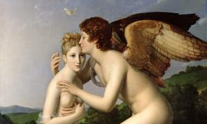 Psyché et l'Amour (Cupid and Psyche), also known as Psyche Receiving Cupid's First Kiss (1798) by François Gérard.