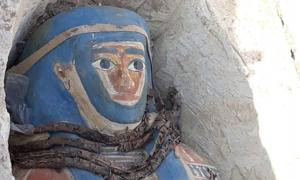 One of eight brightly decorated sarcophagi discovered at the Dahshur necropolis, Egypt