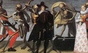16th or 17th century painting of the 'Dance of Death.' The living weren't always scared of the dead.