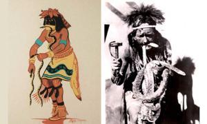 Left:  Hopi snake dancer ( adobegallery) Right: A Hopi male during the annual snake dance and ritual prayers for rain, 1946 (public domain)