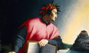 Dante holding open a copy of the Divine Comedy while gazing towards Mount Purgatory (1530), Agnolo Bronzino