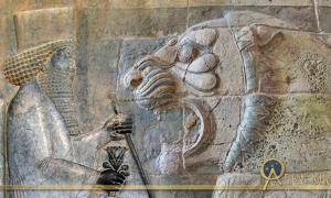 Deriv; Relief of Darius in Persepolis and roaring lion frieze found in the Apadana (Darius the Great's palace) in Susa.