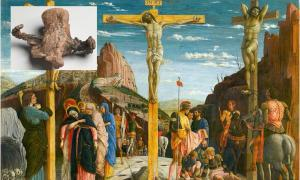 Main: depiction of the crucifixion/death of Jesus Christ and the thieves, Gestas and Dismas. (Andrea Mantegna / Public domain).        Inset: The calcaneus of Yehohanon ben Hagkol, with transfixed nail. (Israel Museum / Ilan Shtulman)