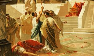 Depiction of one of the deaths of Roman emperors. In this case Roman senators murder Emperor Julius Caesar during a senate meeting. He served as emperor for just over 4 years. Source: Emilio Ereza / Adobe stock