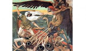 The Defense of the Sampo, by Akseli Gallen-Kallela, shows Louhi in the form of a flying, winged creature. Created in 1895 by unknown artist.